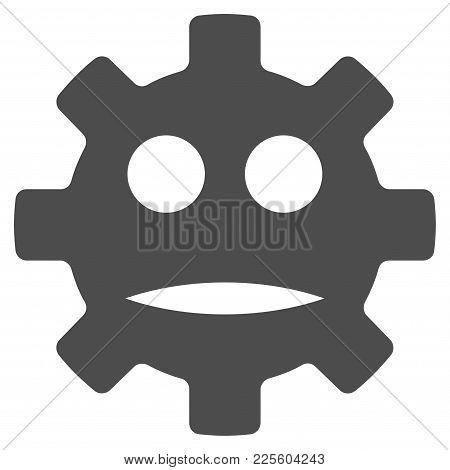 Gear Sad Smiley Vector Icon. Style Is Flat Graphic Grey Symbol.