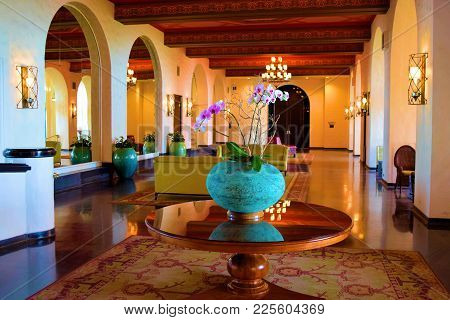 January 28, 2018 At Waikiki Beach In Honolulu, Hi:  Lobby With Luxurious Spanish Architectural Style