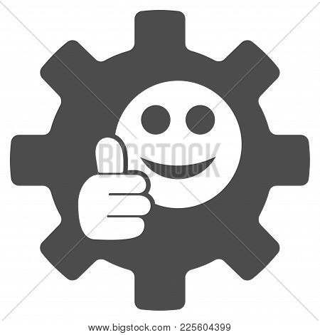 Service Gear Ok Smile Vector Icon. Style Is Flat Graphic Grey Symbol.