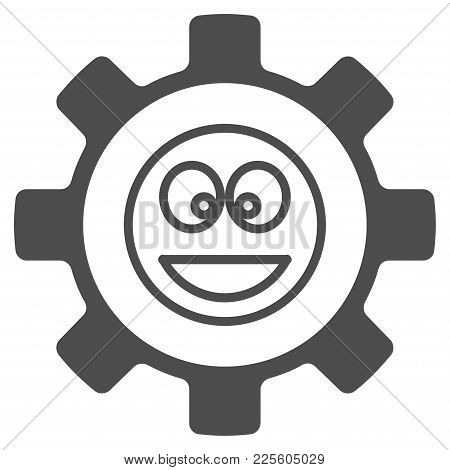 Service Gear Happy Smile Vector Pictograph. Style Is Flat Graphic Grey Symbol.