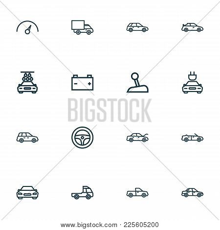 Automobile Icons Line Style Set With Hood, Speedometer, Pickup And Other Crossover Elements. Isolate