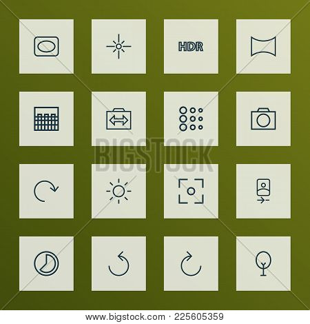 Image Icons Line Style Set With Circle, Angle, Frame And Other Brightness Elements. Isolated Vector