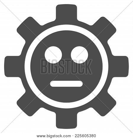 Gear Neutral Smiley Vector Pictograph. Style Is Flat Graphic Gray Symbol.