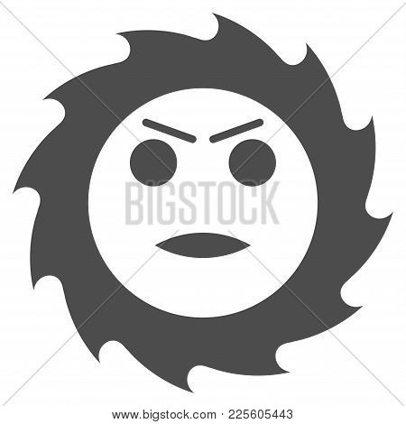 Gear Angry Smiley Vector Pictograph. Style Is Flat Graphic Grey Symbol.