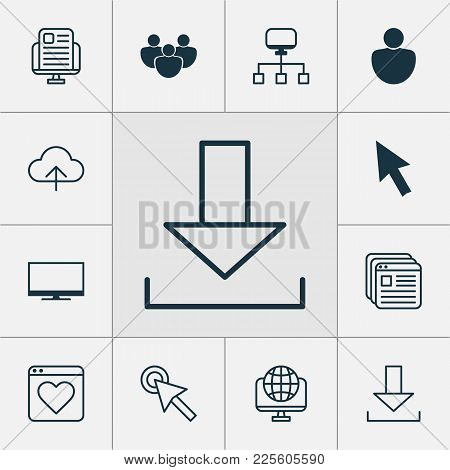 Connection Icons Set With World Wide Web, News Website, Mouse Click And Other Global Elements. Isola