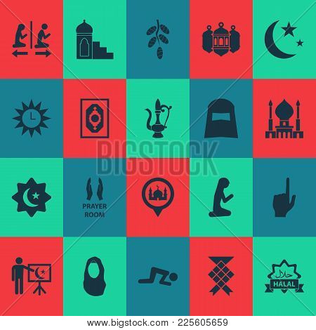 Ramadan Icons Set With Headscarf, God, Hijab And Other Leaning  Elements. Isolated Vector Illustrati