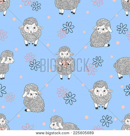 Seamless Pattern With Cute Watercolor Sheep On Blue. Vector Kids Background With Little Lambs.