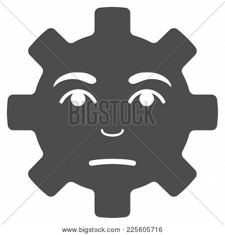 Pity Service Gear Smiley Vector Pictogram. Style Is Flat Graphic Grey Symbol.
