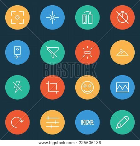 Image Icons Line Style Set With No Timer, Photo, Mountain And Other Flip Elements. Isolated Vector I