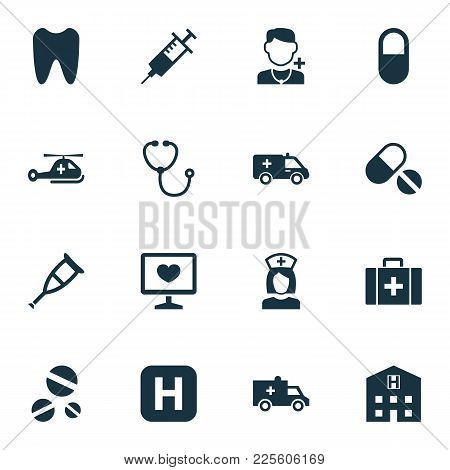 Antibiotic Icons Set With Infirmary, Brougham, Hospital And Other Chest Elements. Isolated Vector Il