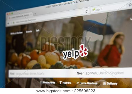 London, Uk - August 7th 2017: The Homepage Of The Official Website For Yelp - The American Crowd-sou