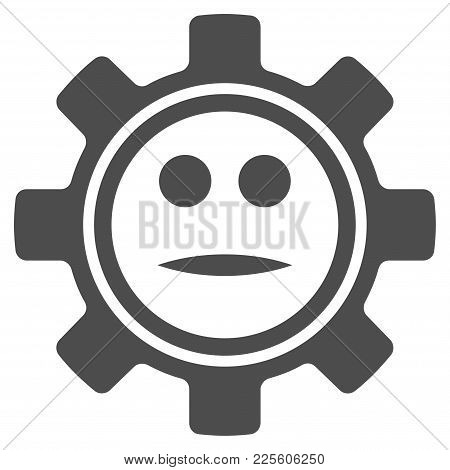 Gear Neutral Smiley Vector Icon. Style Is Flat Graphic Gray Symbol.