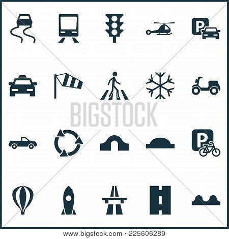 Transport Icons Set With Parking, Velocipede, Moped And Other Cab Elements. Isolated Vector Illustra