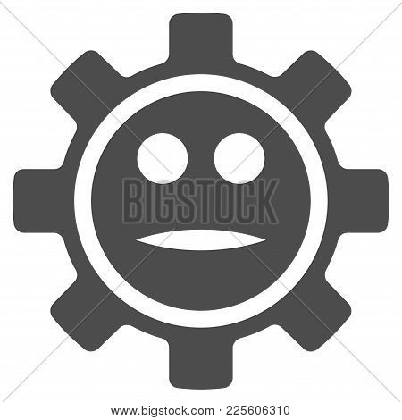 Options Gear Neutral Smiley Vector Pictogram. Style Is Flat Graphic Grey Symbol.