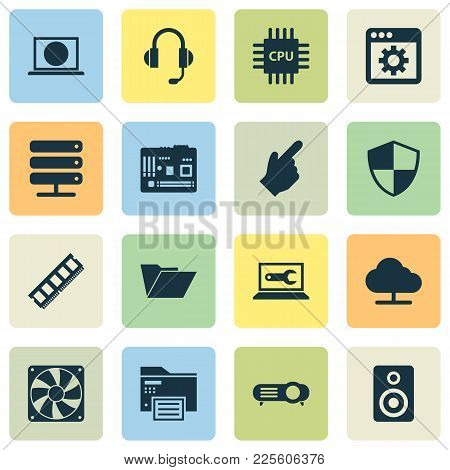 Gadget Icons Set With Cpu, Internet, Computer Repair And Other Web Elements. Isolated Vector Illustr