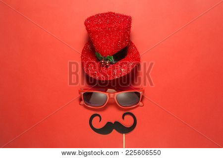 Hipster Retro Vintage Eccentric Man With Red Cylinder Hat Sunglasses And Mustaches Abstract Against