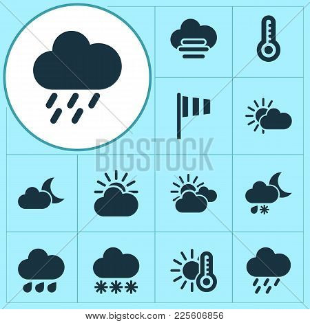 Air Icons Set With Vane, Sunset, Misty And Cloudy Hot Elements. Isolated Vector Illustration Air Ico
