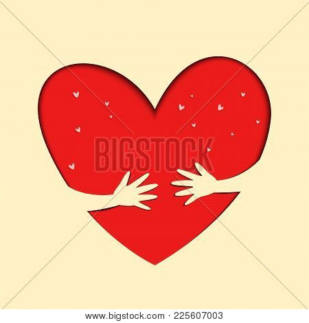 Save Love. Hands Hold Love. Illustration Of Love And Valentine Day. Love And Heart Care Logo.
