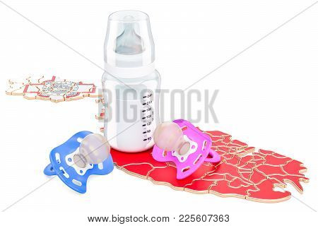 Birth Rate And Parenthood In Malta Concept, 3d Rendering Isolated On White Background