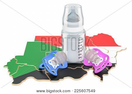 Birth Rate And Parenthood In Sudan Concept, 3d Rendering Isolated On White Background