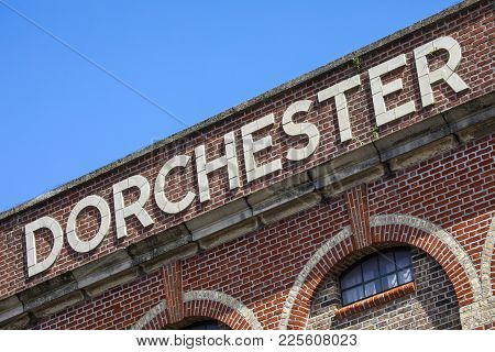 Dorchester Sign On The Exterior Of The Old Dorchester Brewery Building In Brewery Square, Dorchester
