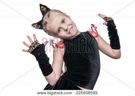 Portrait Of Little Girl In Carnival Costume Of Cat With Cat Eyes Isolated On White Background