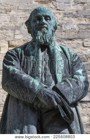 A Statue Of Poet William Barnes, Located Outside St. Peters Church In Dorchester, Dorset, Uk.