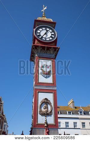 The Jubilee Clock On Weymouth Seafront In Dorset, Uk.  The Clock Was Erected In 1887 To Mark The 50t
