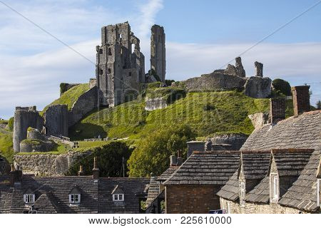 Dorset, Uk - August 16th 2017: A View Of The Remains Of The Stunning Corfe Castle In Dorset, Uk, On