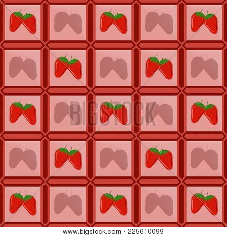 Vector Images Of Strawberries In A Photo Frame Lined In The Form Of Tiles With Shadows Of A Shadow F