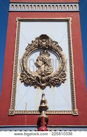 A Portrait Detail Of Queen Victoria On The Jubilee Clock On Weymouth Seafront In Dorset, Uk.  The Cl