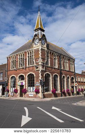 Wareham, Uk - August 16th 2017: The Exterior Of Wareham Town Hall In The Town Of Wareham In Dorset,