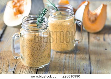 Glasses Of Pumpkin Chia Seed Pudding