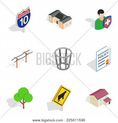 Utility Icons Set. Isometric Set Of 9 Utility Vector Icons For Web Isolated On White Background