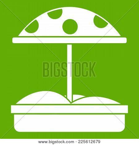 Sandbox With Dotted Umbrella Icon White Isolated On Green Background. Vector Illustration