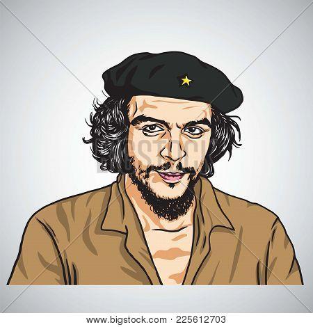 Ernesto Che Guevara. Vector Portrait Illustration. February 8, 2018