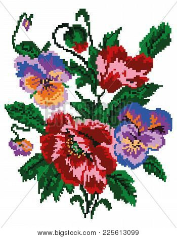 Color  Bouquet Of Flowers (poppies And Pansies) Using Traditional Ukrainian Embroidery Elements. Can
