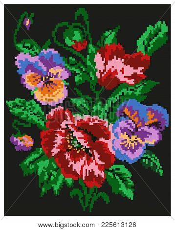 Color  Bouquet Of Flowers (poppies And Pansies) On The Black Background Using Traditional Ukrainian