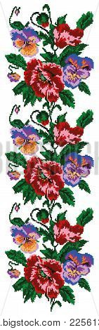 Color  Bouquet Of Flowers (poppies And Pansies) Using Traditional Ukrainian Embroidery Elements. Bor
