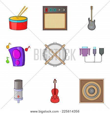 Stage Production Icons Set. Cartoon Set Of 9 Stage Production Vector Icons For Web Isolated On White