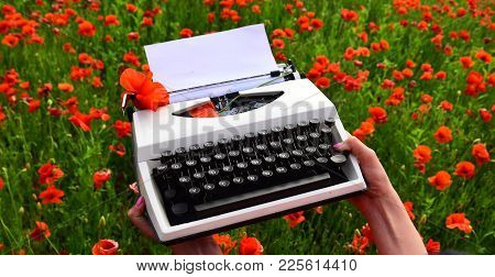 Agile Business And Grammar. Agile Business, Typewriter In Female Hand On Poppy Field Background