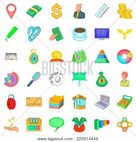 Contemporary Business Icons Set. Cartoon Set Of 36 Contemporary Business Vector Icons For Web Isolat