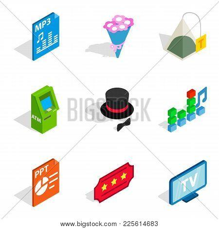 Musical Accompaniment Icons Set. Isometric Set Of 9 Musical Accompaniment Vector Icons For Web Isola