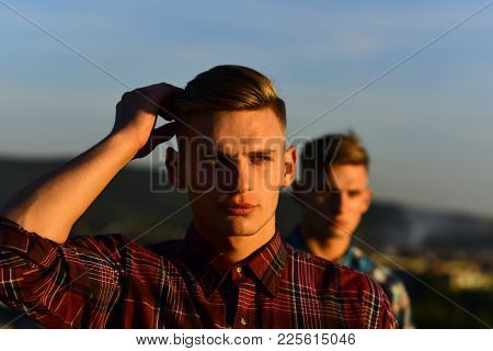 Men Twins In Sunset Or Sunrise, Friendship. Twin Brothers Man Outdoor, Relations. Fashion For Men, S