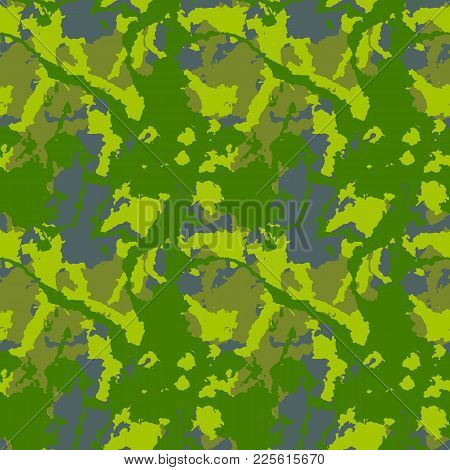 Bright Forest Spring Or Summer Camouflage With Shades Of Green And Gray. It Is Colorful Seamless Pat
