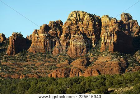 Late Afternoon Image Of Sandstone Rock Formations Near Sedona, Arizona