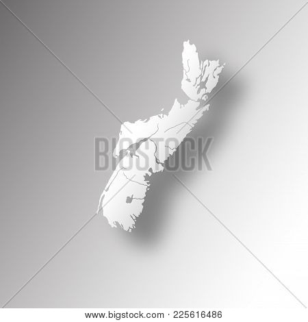 Provinces And Territories Of Canada - Map Of Nova Scotia With Paper Cut Effect. Rivers And Lakes Are