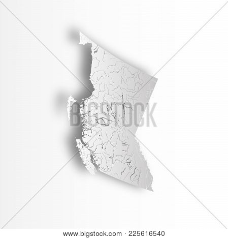 Provinces And Territories Of Canada - Map Of British Columbia With Paper Cut Effect. Rivers And Lake