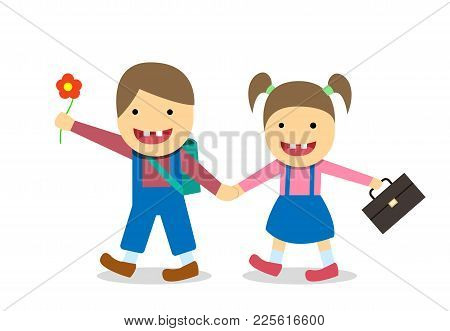 Down Syndrome Boy And Girl Go To School, Vector Design