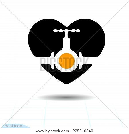 Vector Black Icon, Love Symbol. Wheel To Open Closing Flow In Heart. Valentines Day Sign, Emblem, Fl